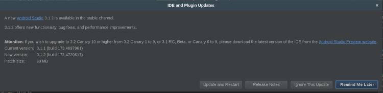 Pemberitahuan update Android Studio